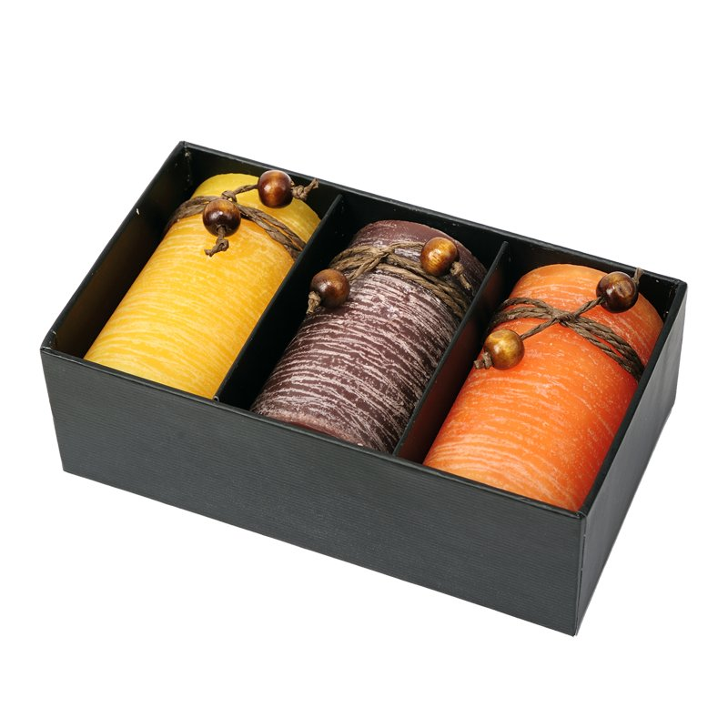 Scented candle set, brown/yellow photo